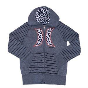 Hurley Girls Zip Down Sweat Shirt Leopard Stripes